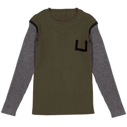 Belati Olive Two Tone Ribbed Sweater
