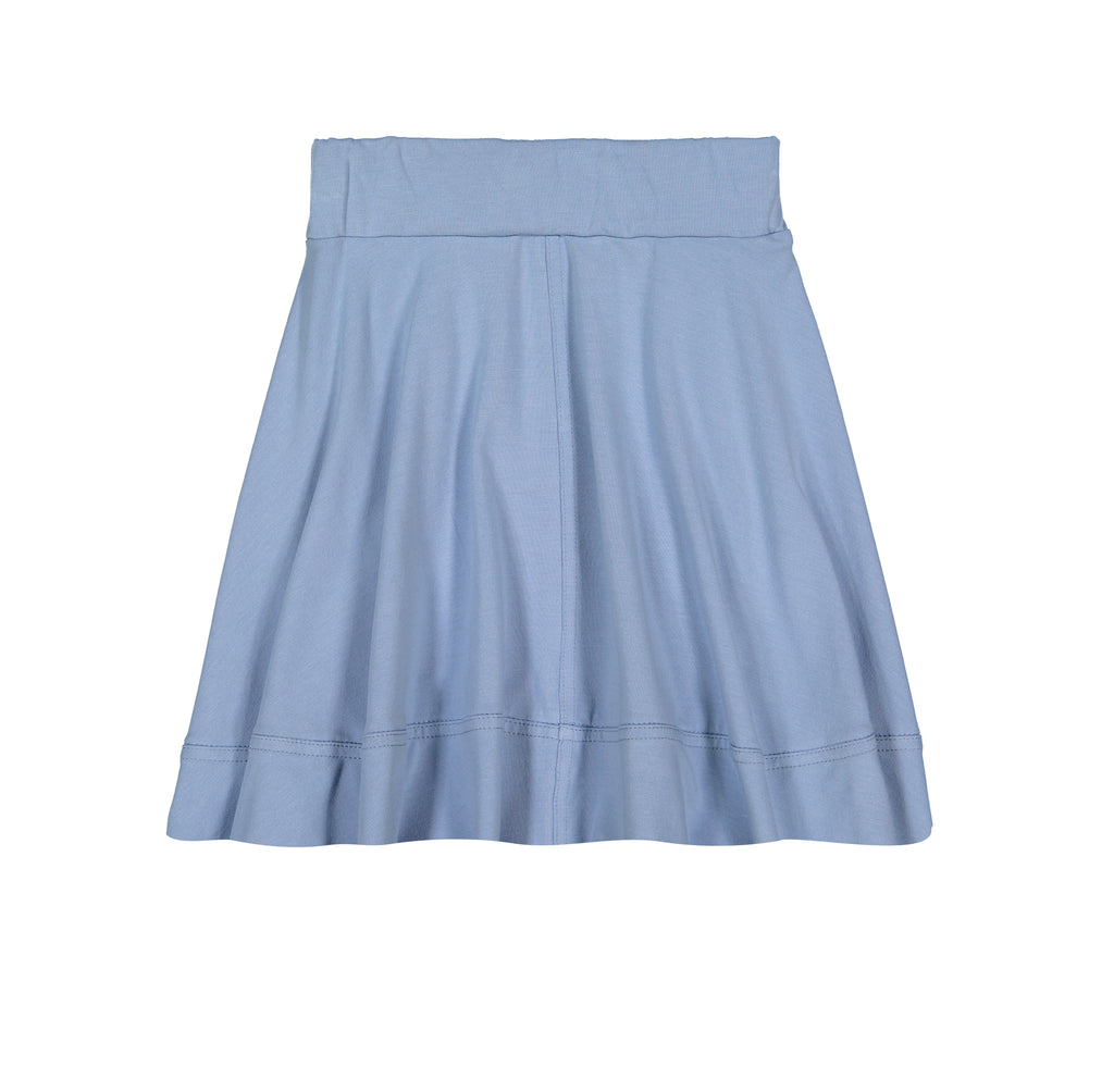 Teela Dusty Blue Basic Knit Circle Cut Solid Skirt