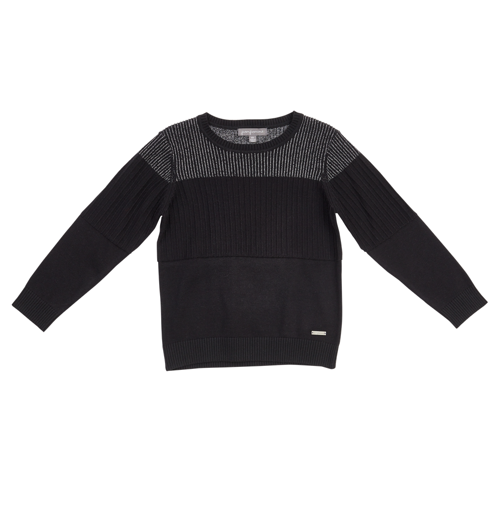 Pompomme Black/Sliver Multi Ribbed Sweater