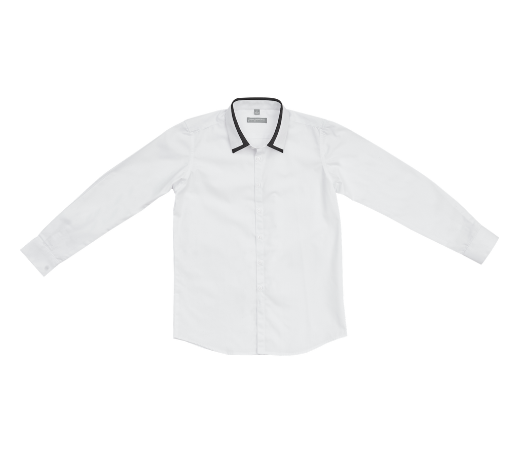 Pompomme White/Navy Contrast Collar Band Shirt