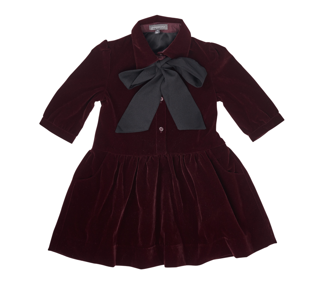 Pompomme Plum Bow Neck Tie Dress
