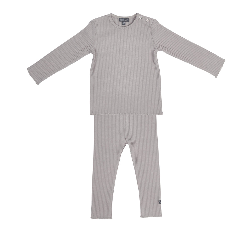 Pompomme Grey Mix Ribbed Baby Set