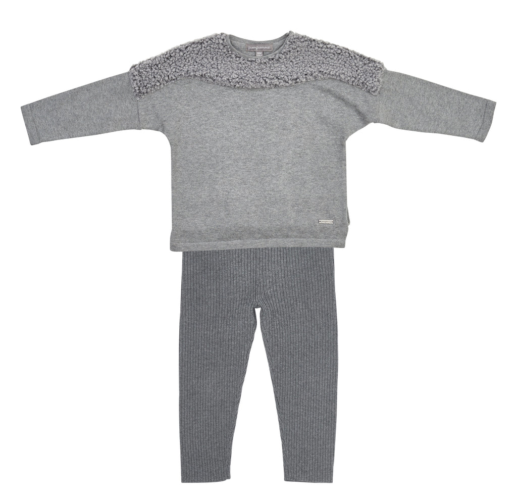 Pompomme Grey Bouncle Yoke Sweater With Ribbed Leggings