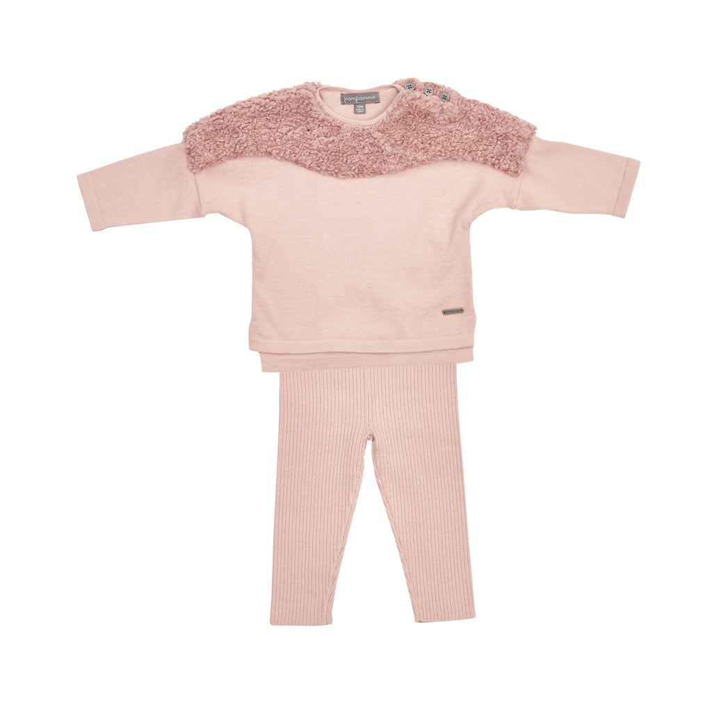 Pompomme Pink Bouncle Yoke Sweater With Ribbed Leggings