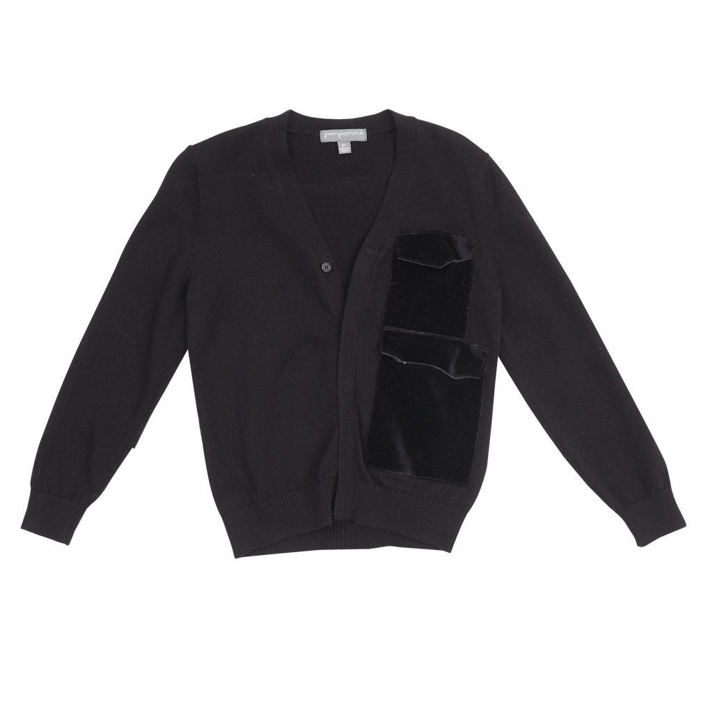 Pompomme Black 2 Pocket Cardigan