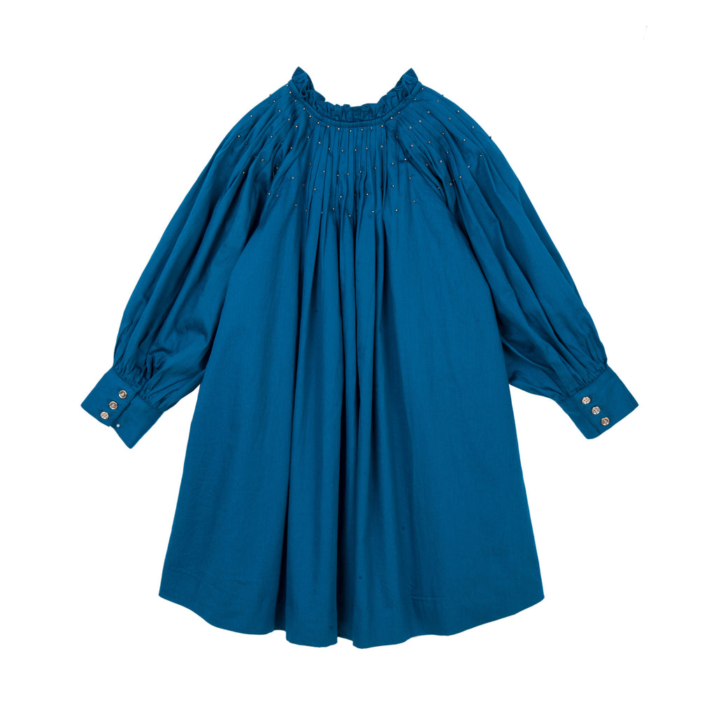 Velveteen Blue Cotton Satin Erin Dress