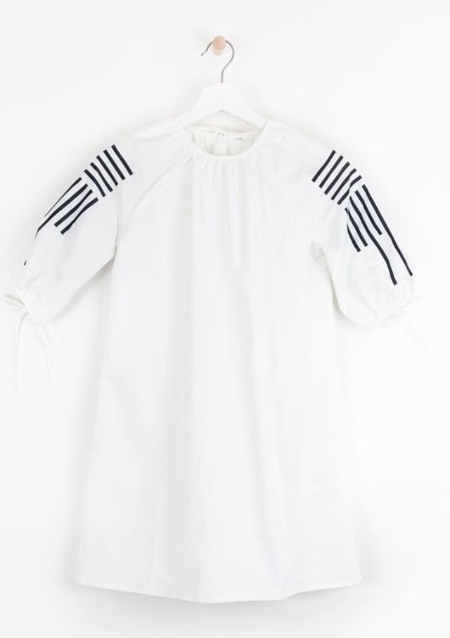 Sweet Threads White Dress With Navy Striped Sleeves