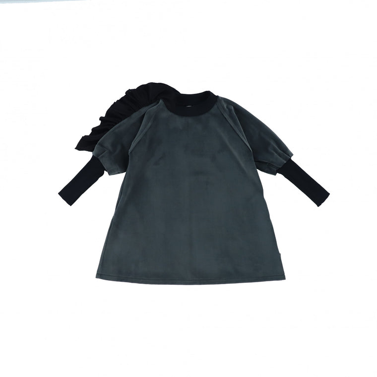 ACBC Grey Velvet Ruffle Dress