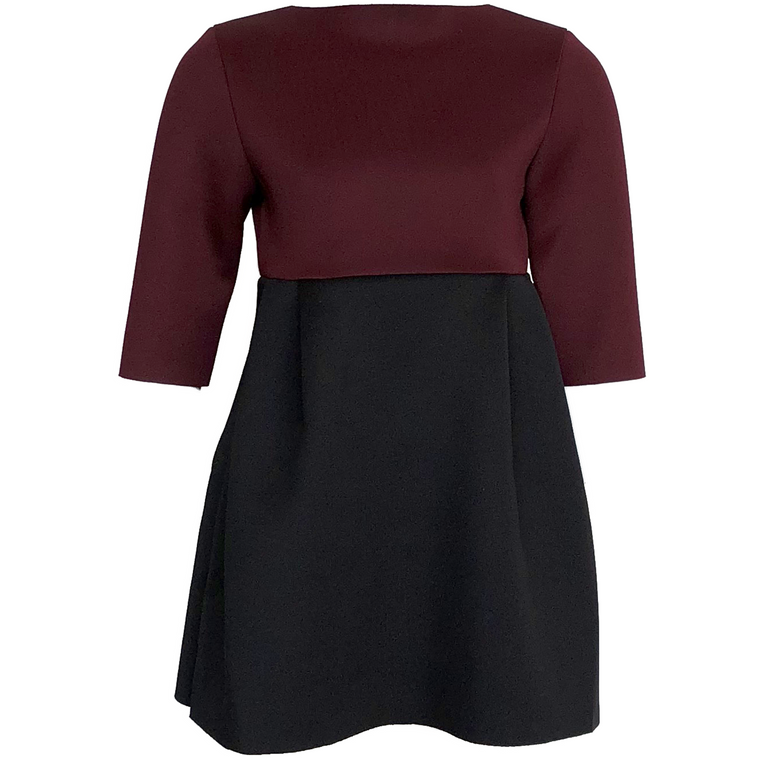 Amelia Burgundy Two Tone Dress