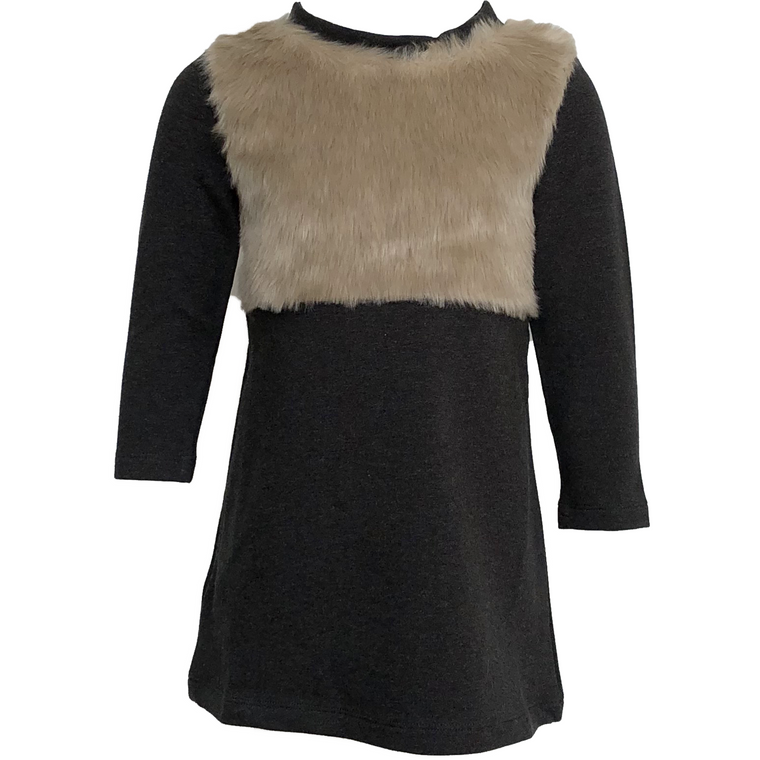 Amelia Charcoal Dress With Fur Detail