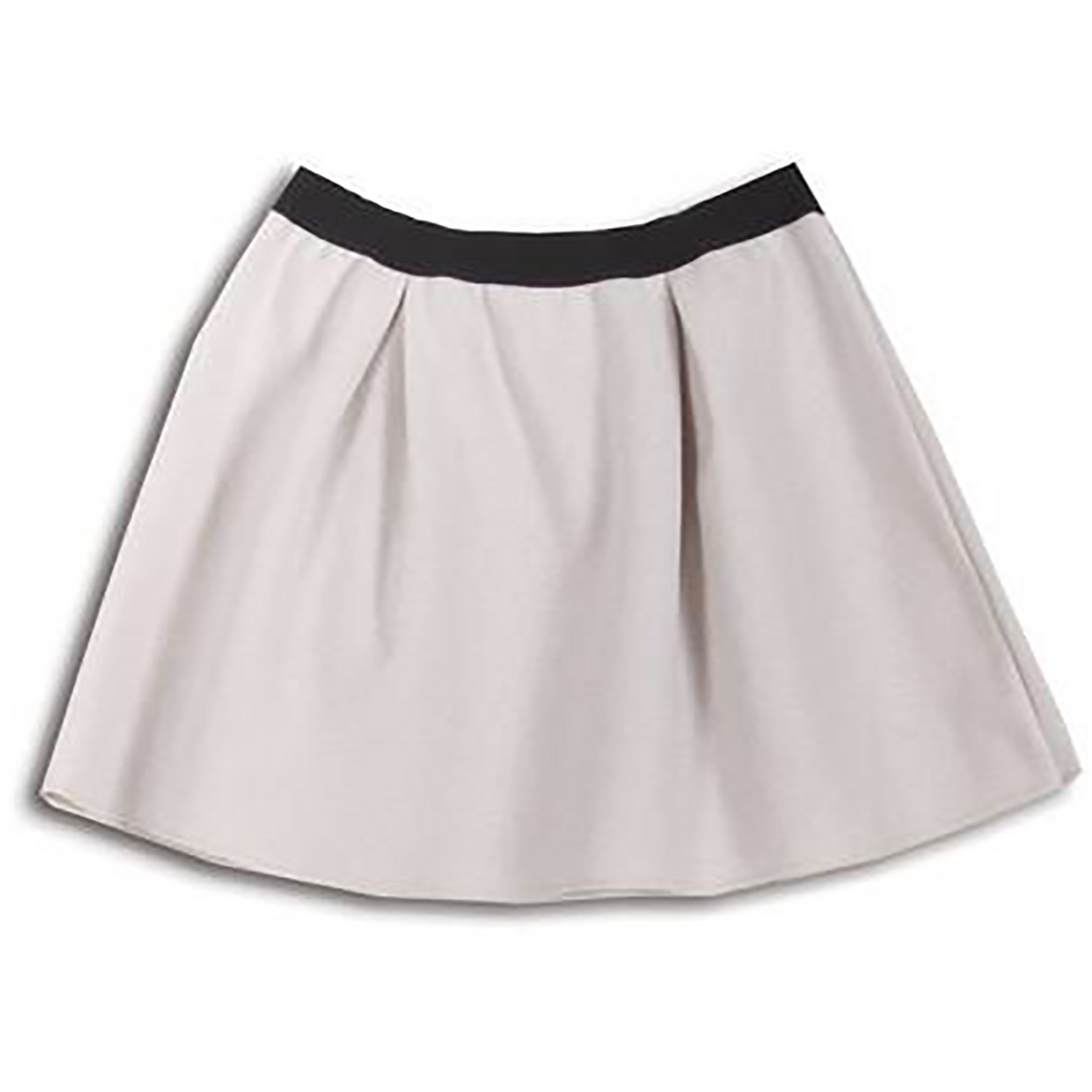 Amelia Cream Flare skirt with Black Waist