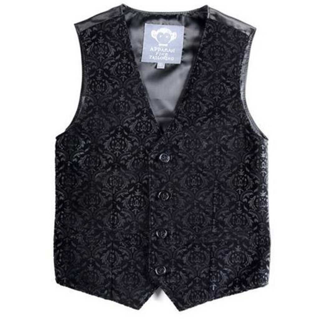 Appaman Printed Black Velvet Vest
