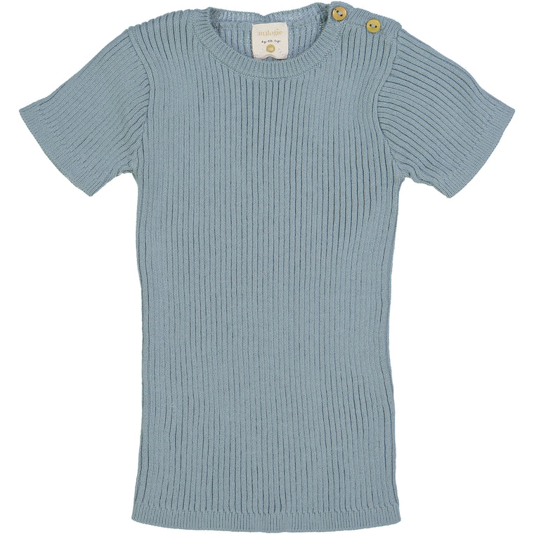 Analogie by Lil Leggs Aqua Ribbed Knit SS Shirt