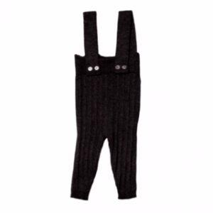 Belati Black Ribbed Suspender Pants