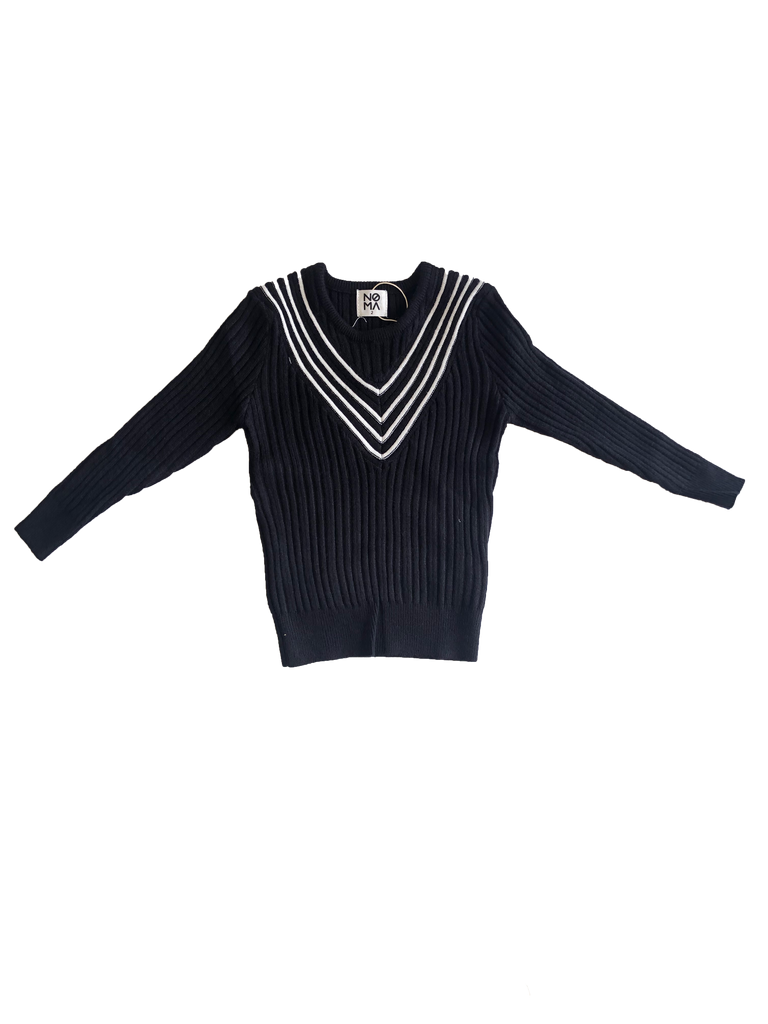 Noma Black Ribbed Sweater with Cream V