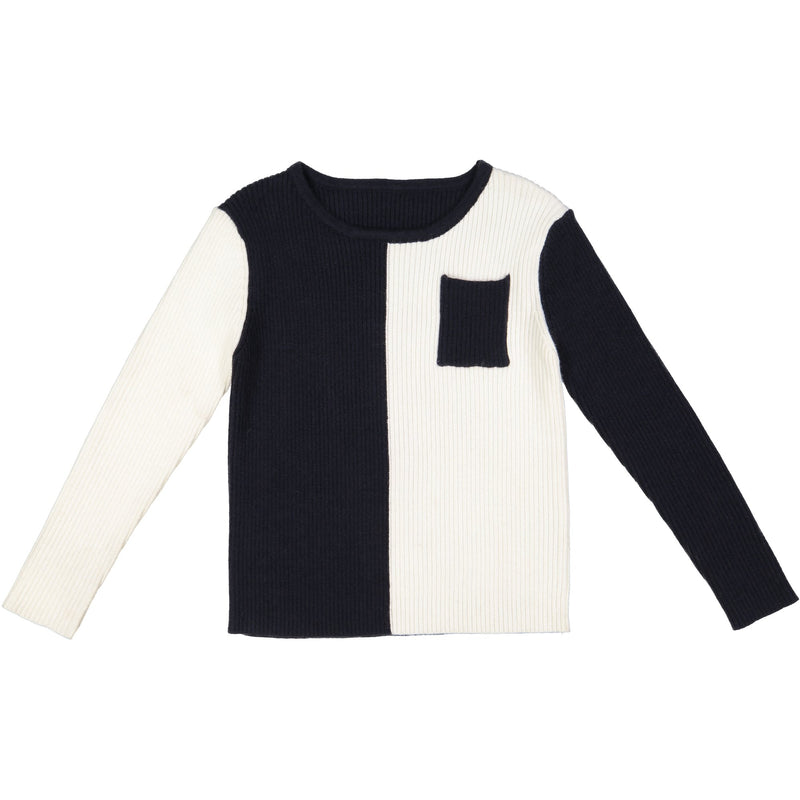 Belati Black/White Color Block Ribbed Sweater