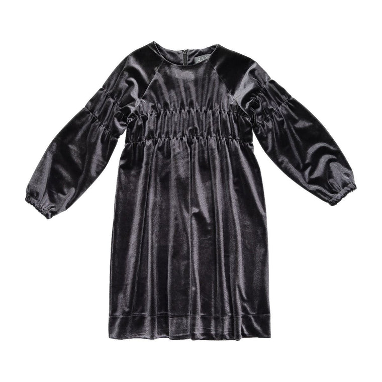Belati Charcoal Velour Elasticated Dress