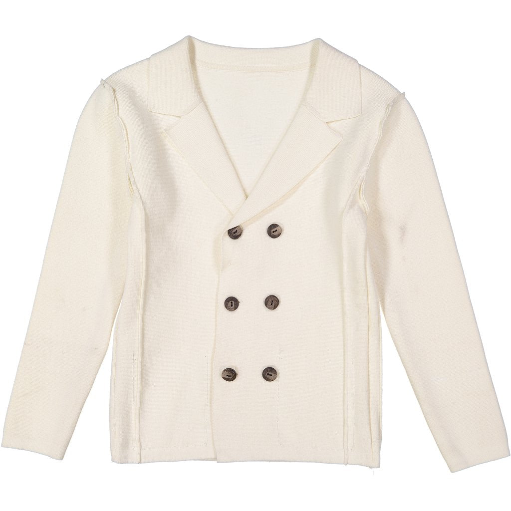 Belati Cream Double Breasted Knitted Blazer