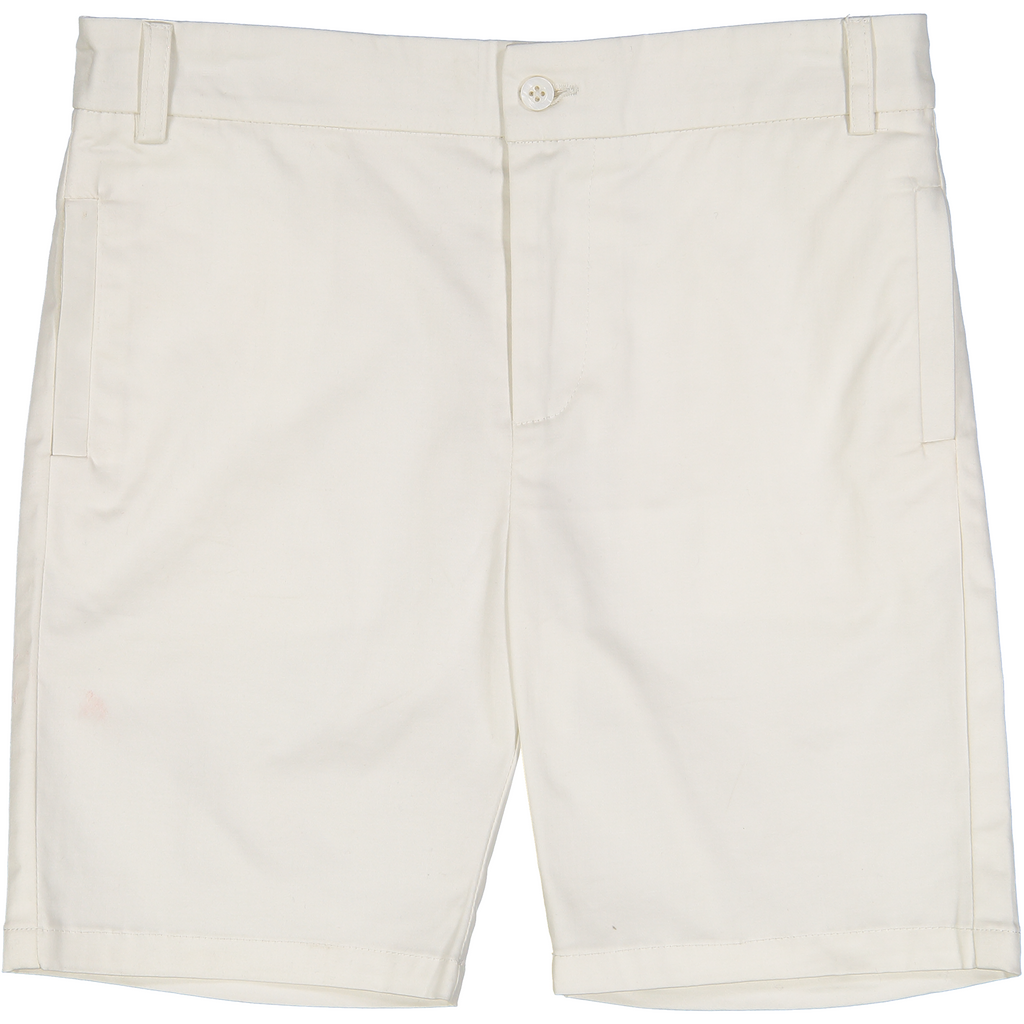 Belati Cream Sateen Bermuda Shorts