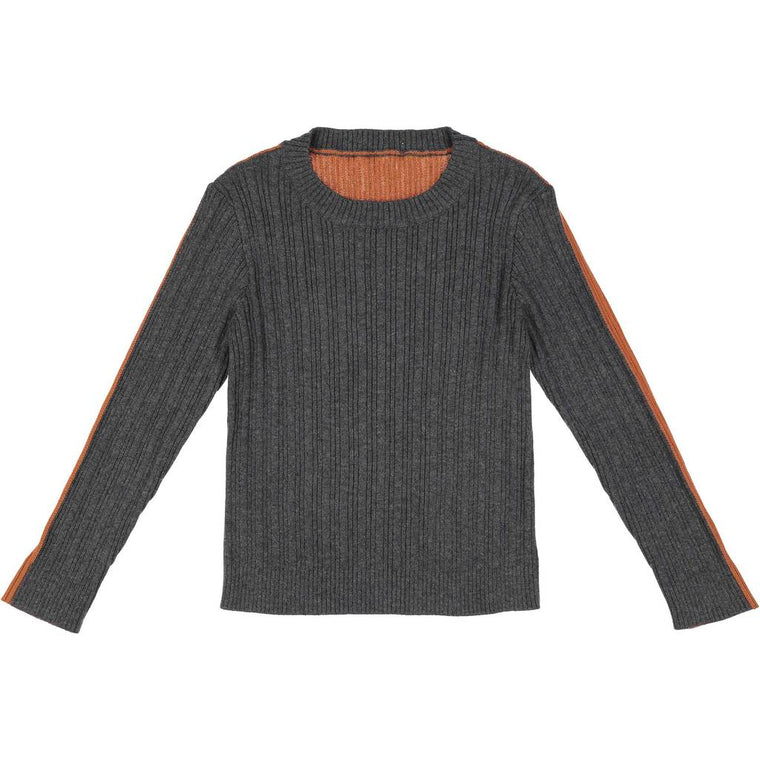 Belati Grey/Caramel Two-Tone Ribbed Sweater