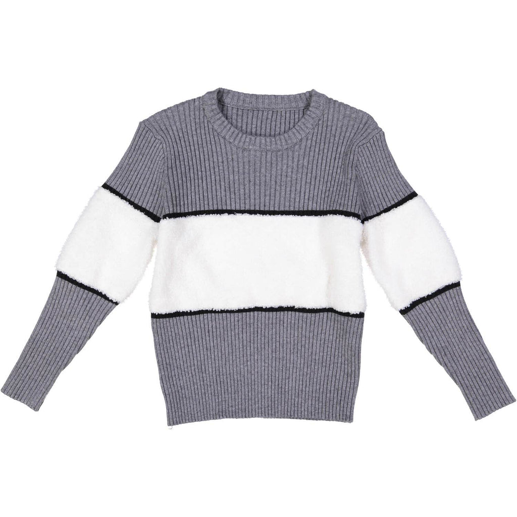 Belati Grey Fuzzy Wool Ribbed Knit Sweater