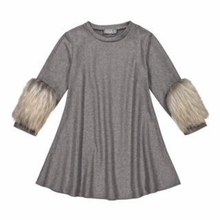 Belati Grey Jersey Dress With Hairy Sleeves