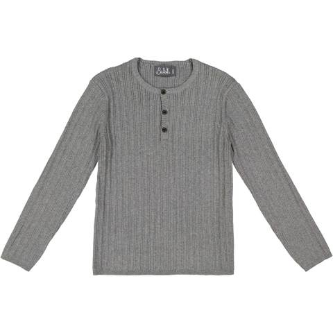 Belati Grey Solid Henley Ribbed Sweater