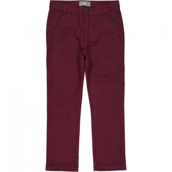 Belati Maroon Wool Slim Fit Pants