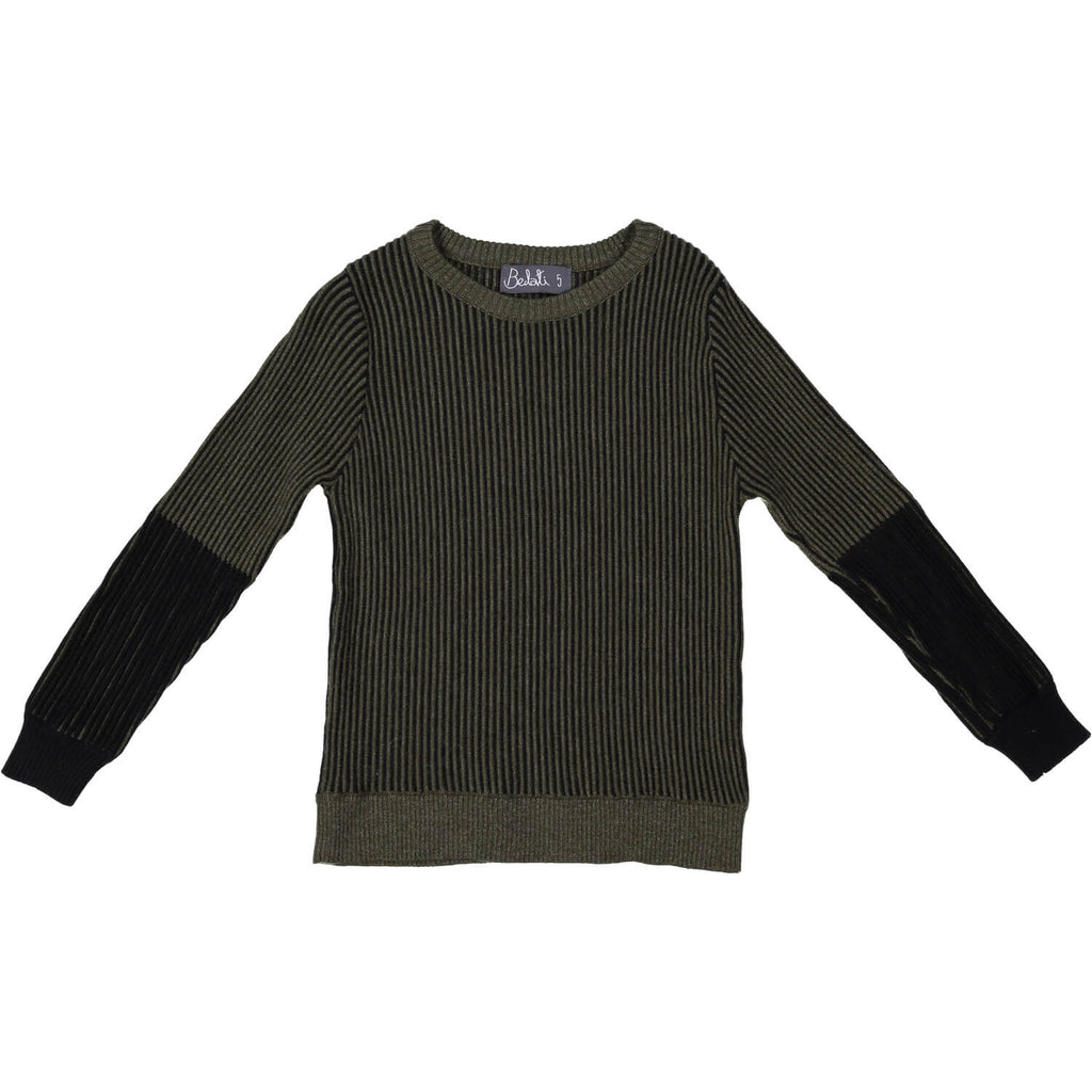 Belati Olive Ribbed Two Tone Sweater