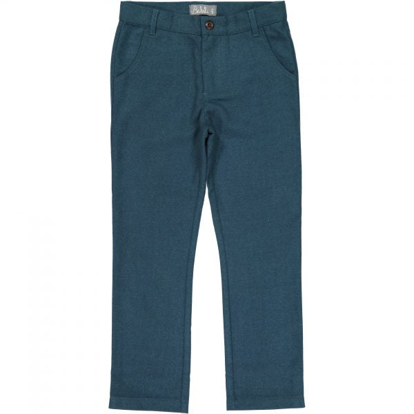 Belati Teal Wool Slim Fit Pants
