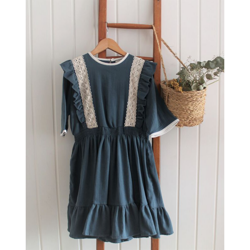 Belle Chiara Green Blue Wrinkly Cotton Dress