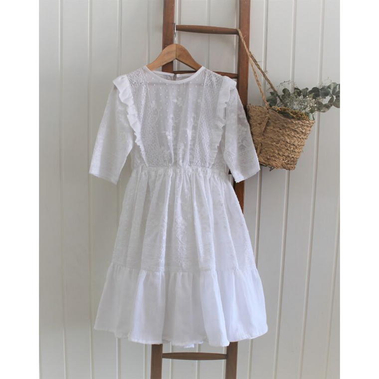Belle Chiara White Embroidery Plumeti Dress