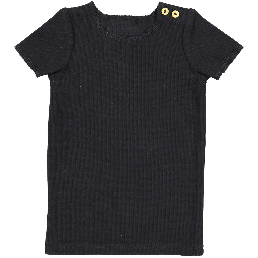 Lil Leggs Black Ribbed Tee