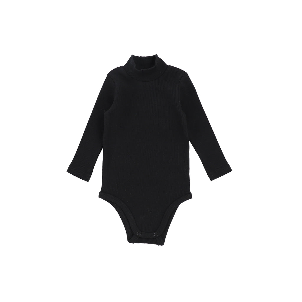 Lil Leggs Black Rib Turtleneck Onesie