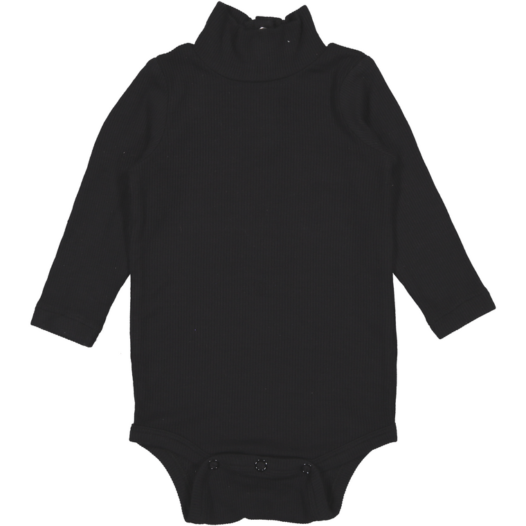 Coco Blanc Black Ribbed Turtleneck Onesie