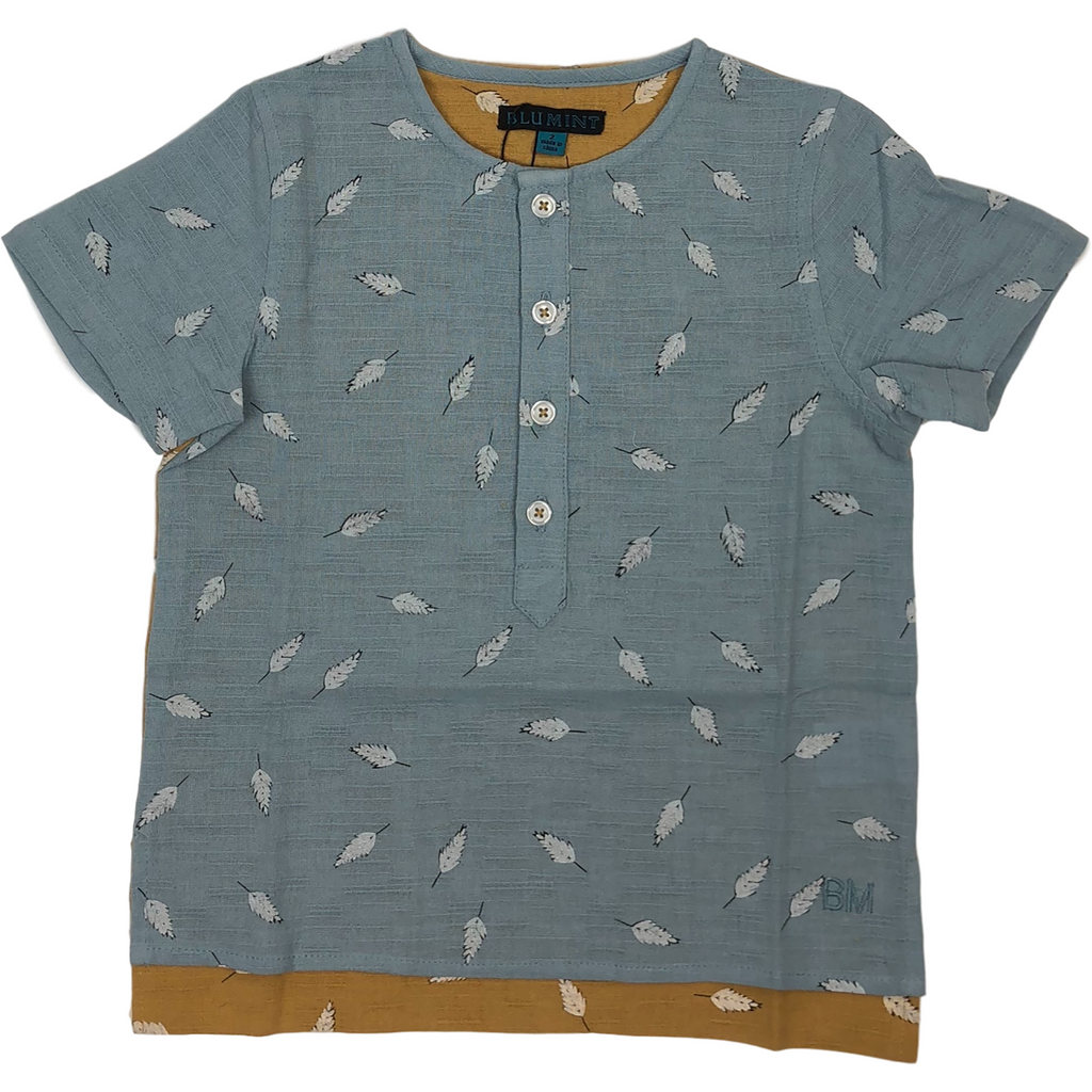 Blumint Blue/Gold Two Tone Feather Print Shirt