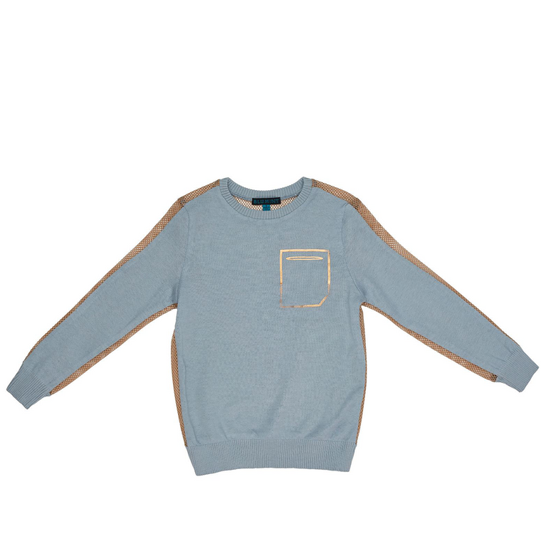 Blumint Blue/Gold Mesh Back Sweater