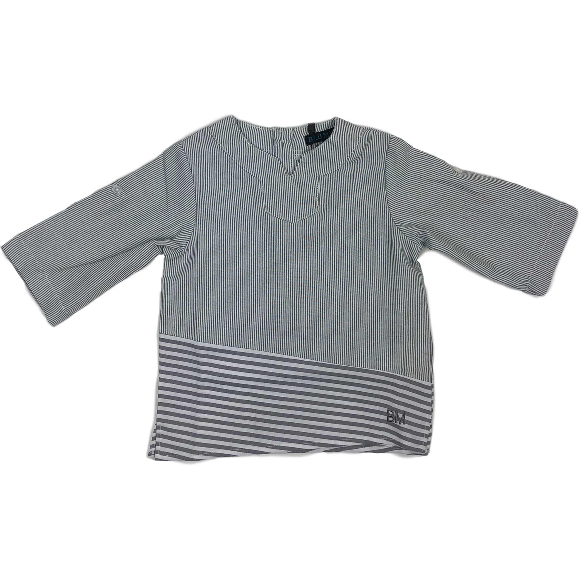 Blumint Grey/White Striped Shirt