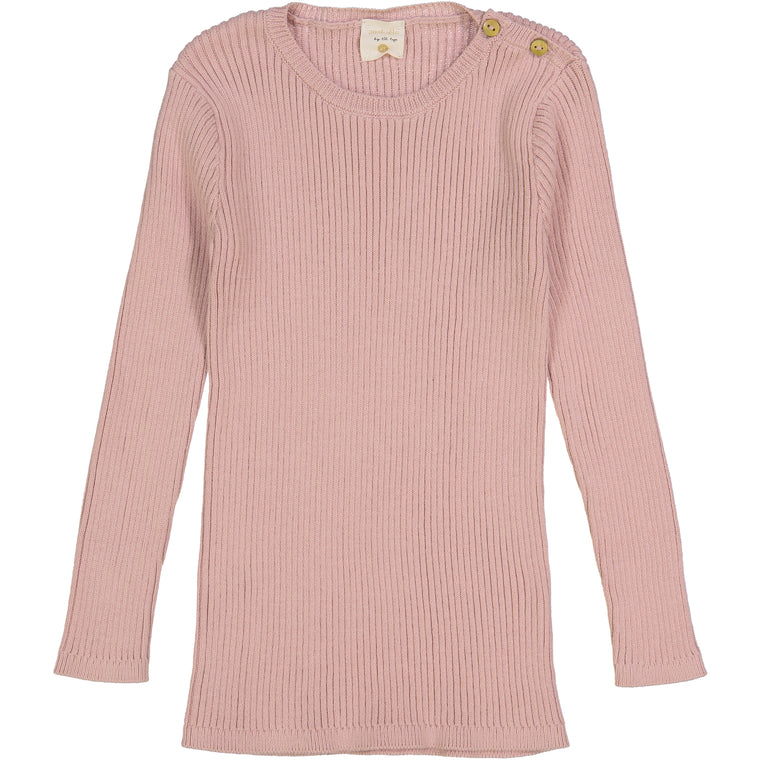 Analogie by Lil Leggs Blush Ribbed LS Shirt