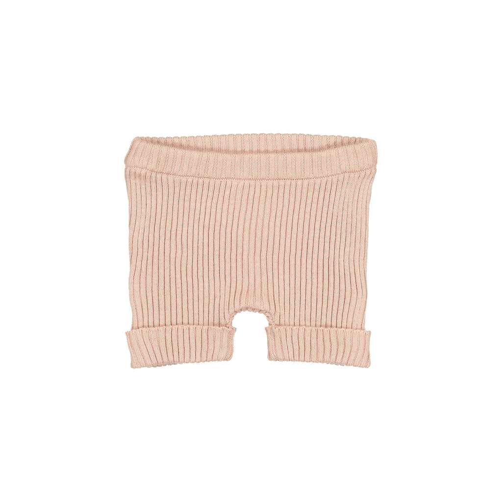 Analogie by Lil Leggs Blush Ribbed Knit Shorts