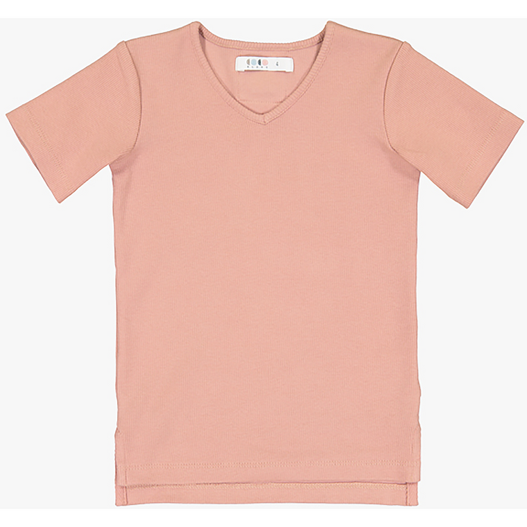 Coco Blanc Blush Pink V-Neck Ribbed Top