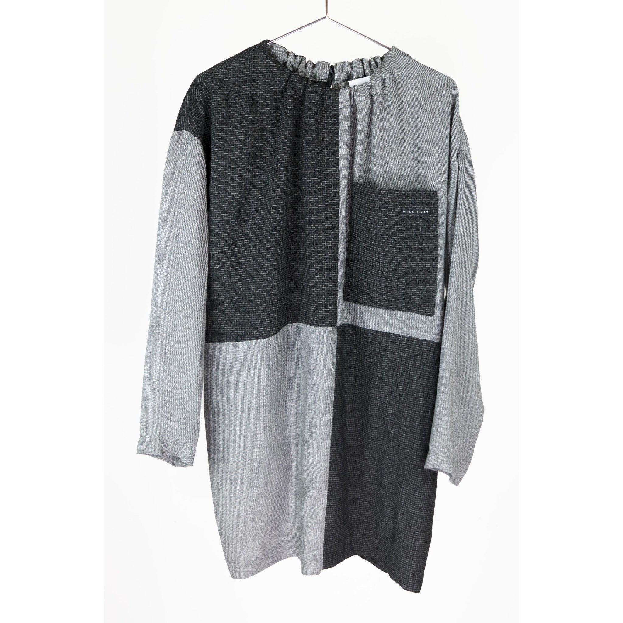 Miss L Ray Bao Charcoal/Grey Checkered Dress