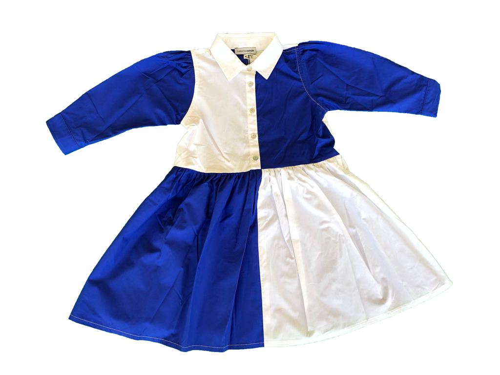 Christina Rohde White/Blue Collarded Dress
