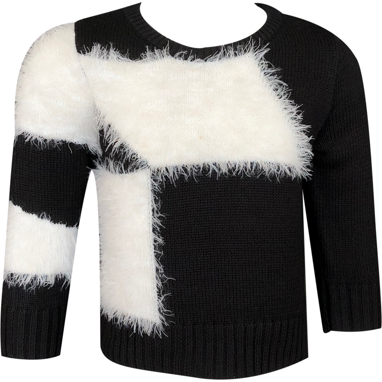 Clo Black/White Furry Knit Crewneck
