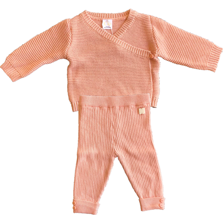 Clo Pink Knit Two Piece Baby Set