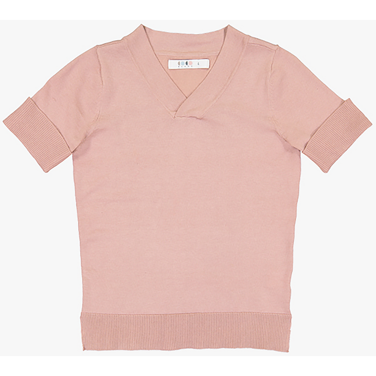 Coco Blanc Dressy Soft Pink V-Neck Sweater