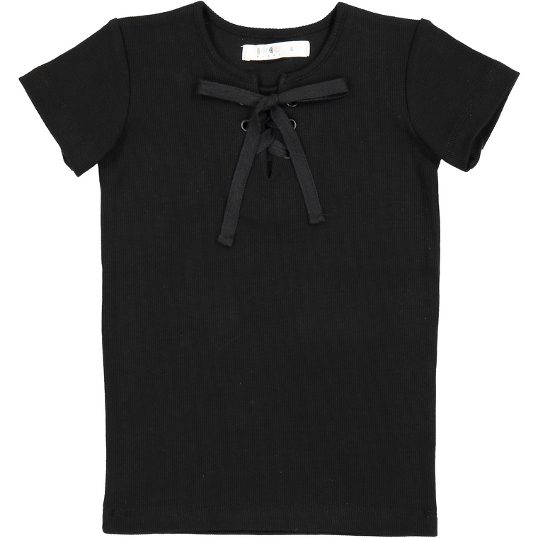 Coco Blanc Black Ribbed Short Sleeve Cross Tee