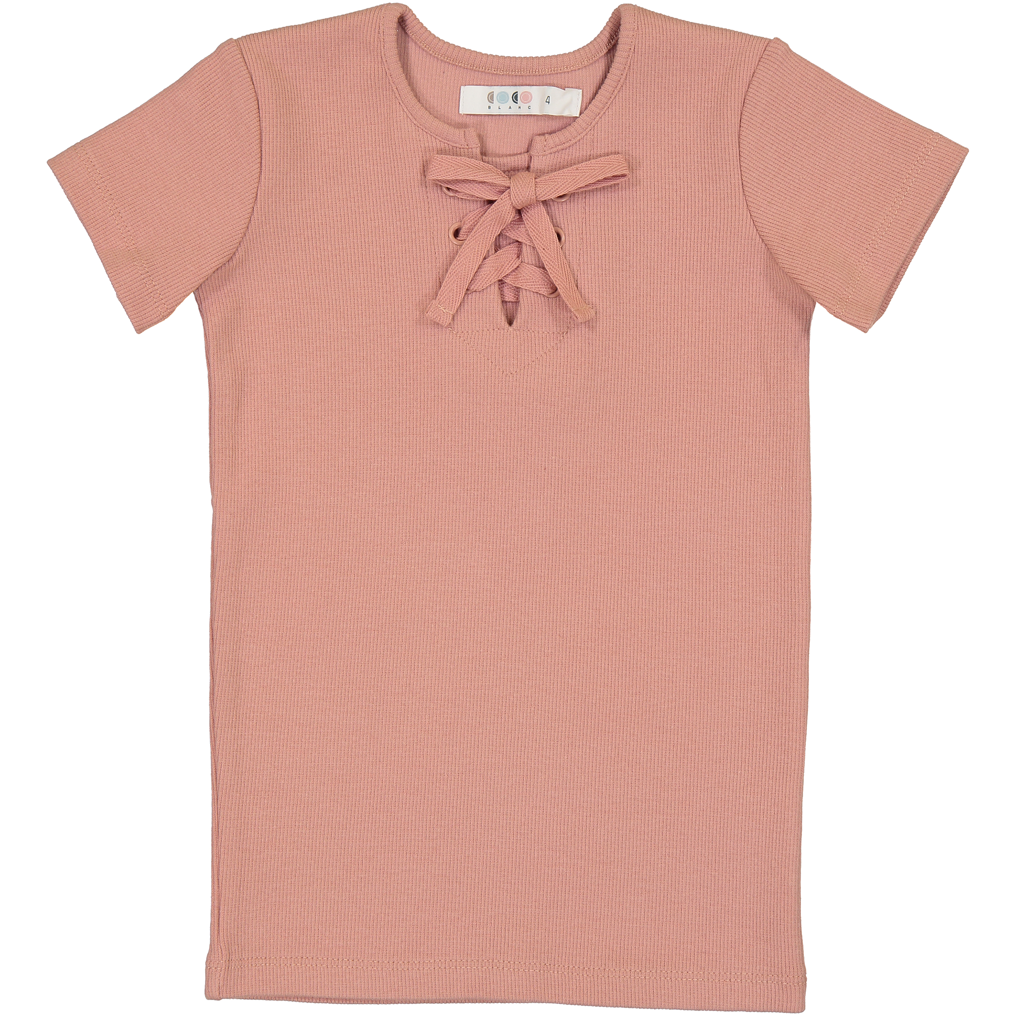 Coco Blanc Blush Pink Ribbed Short Sleeve Cross Tee