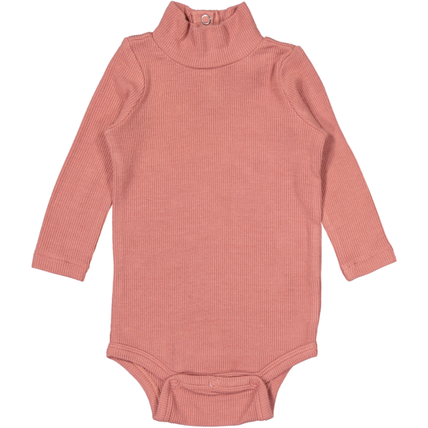 Coco Blanc Dusty Ribbed Pink Turtleneck Onesie