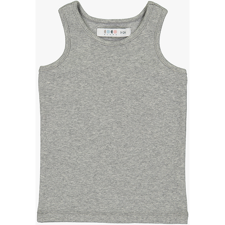 Coco Blanc Charcoal Grey Heather Ribbed Knit Tank Top